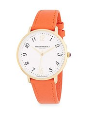 Bruno Magli Stainless Steel And Leather Strap Watch Gold