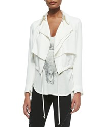 Haute Hippie Cropped Draped Trench Jacket Swan