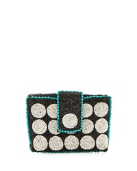 Mary Frances Spin Out Beaded Mini Evening Clutch Bag Blk Wht Tu