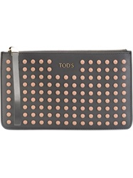 Tod's Wrist Strap Studded Clutch Grey