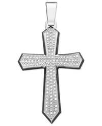 Macy's Men's Diamond Cross Pendant Necklace In Stainless Steel 1 Ct. T.W.