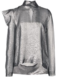 Dice Kayek Structured Shoulders Blouse Silver