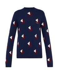 Prada Sailboat Intarsia Wool Blend Sweater Blue
