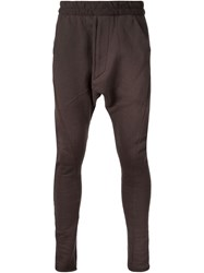 Julius Drop Crotch Track Pants Brown