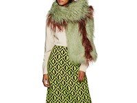 Dries Van Noten Feather Trimmed Faux Fur Stole Green