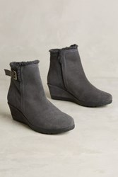 Anthropologie Shearling Lined Wedge Booties Grey