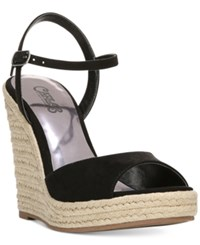 Carlos By Carlos Santana Lillith Espadrille Wedge Sandals Women's Shoes Black