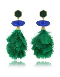 Tory Burch Tropical Creature Emerald Green Feather Drop Clip On Earrings