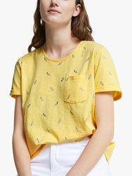 John Lewis Collection Weekend By Crew Neck Foil Rose T Shirt Yellow Silver