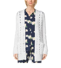 Michael Kors Hand Knit Mohair Cardigan White