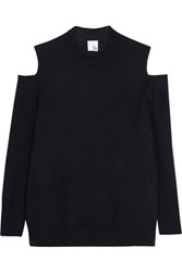 Iris And Ink Paloma Cutout Cashmere Sweater Navy