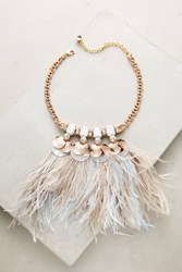 Anthropologie Heari Feather Bib Necklace White