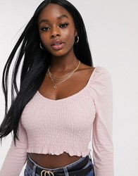 Miss Selfridge Long Sleeve Shirred Top In Blush Pink