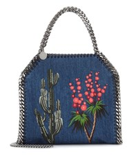Stella Mccartney Falabella Mini Embroidered Denim Tote Blue