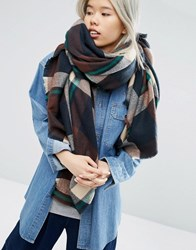 Asos Oversized Square Scarf In Brown Check Blown Up Brown