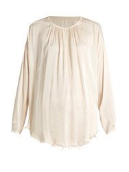 Raquel Allegra Round Neck Raw Hem Satin Blouse Cream