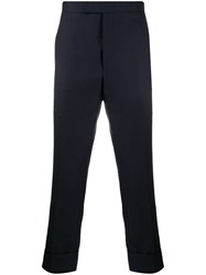 Thom Browne Super 120S Twill Classic Backstrap Trousers Blue