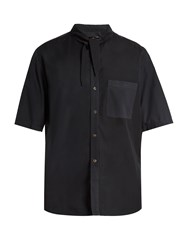 By Walid Tie Neck Loose Fit Shirt Charcoal