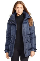 Women's Lauren Ralph Lauren Faux Fur Trim Down And Feather Fill Parka Dark Navy