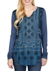 Lucky Brand Long Sleeve Embroidered Top Blue
