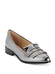 Saks Fifth Avenue Point Toe Kiltie Fringed Pumps Pewter