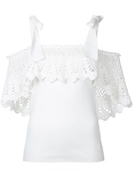 Irene Crochet Off Shoulder Blouse Women Cotton Nylon Polyester Rayon 36 White