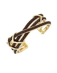 Cole Haan Braided Leather Multi Band Bracelet Brown