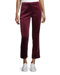 Theory Stretch Velvet Cropped Straight Leg Tux Pants Pink