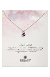 Women's Dogeared 'Love Gem' Semiprecious Stone Pendant Necklace Amethyst Silver