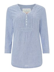 Brakeburn Popover Pleated 34 Sleeve Blouse Blue