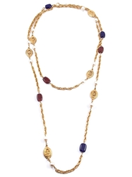 Chanel Vintage Long Beaded Necklace Blue