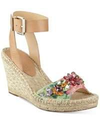 Ivanka Trump Dixi Embellished Espadrille Wedge Sandals Women's Shoes Natural Multi