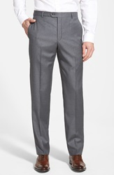 Hickey Freeman 'B Series' Flat Front Wool Trousers Grey