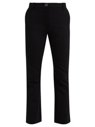 Valentino Mid Rise Wool Blend Flared Trousers Black