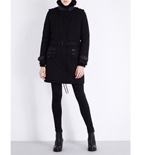 The Kooples Faux Fur Collar Cotton Canvas Parka Black