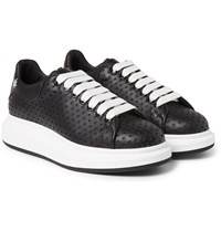 Alexander Mcqueen Exaggerated Sole Laser Cut Leather Sneakers Black
