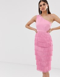 Lavish Alice One Shoulder Fringe Midi Dress In Pink