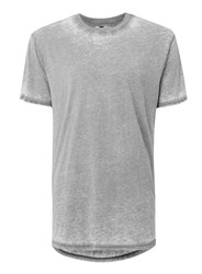 Topman Light Grey Burnout Wash Longline T Shirt