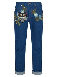 Gucci Floral Embroidered Mid Rise Tapered Leg Jeans Blue