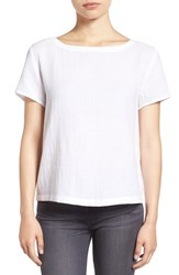 Eileen Fisher Petite Women's Organic Cotton Bateau Neck Top White