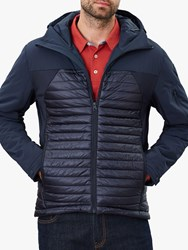 Joules Hooded Wentworth Mix Quilted Jacket Dark Navy