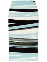 Fenn Wright Manson Petite Madrid Skirt Blue Stripe