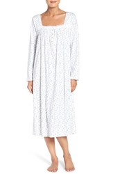 Eileen West Women's Long Sleeve Print Cotton Ballet Nightgown Winter White Blue Floral