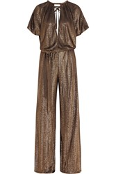 Temperley London Lame Wide Leg Jumpsuit Metallic