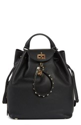 Valentino Garavani Leather Backpack Black