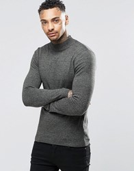 Asos Muscle Fit Turtle Neck Jumper In Cotton Khaki And Black Twist Green
