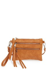Sole Society 'Camilla' Faux Leather Clutch Brown Cognac