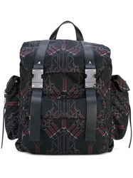 Valentino Printed Backpack Men Leather Polyester One Size Black