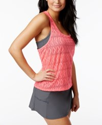 Go By Gossip Crochet Layered Tankini Top With Racerback Bra Women's Swimsuit Coral Granite