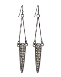 Sequin Pave Dangle Teardrop Earrings Blk Diamond Hemat